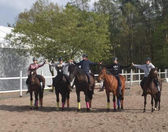 dzieci trzymające się za ręce i siedzące na koniach
